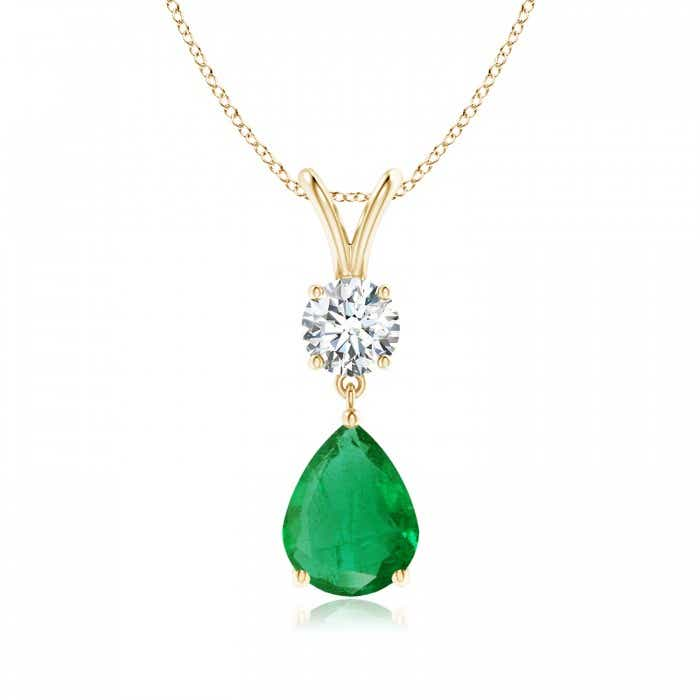 Angara Pear Shaped Emerald Pendant Necklace in 14k Rose Gold 7FztvRJmB