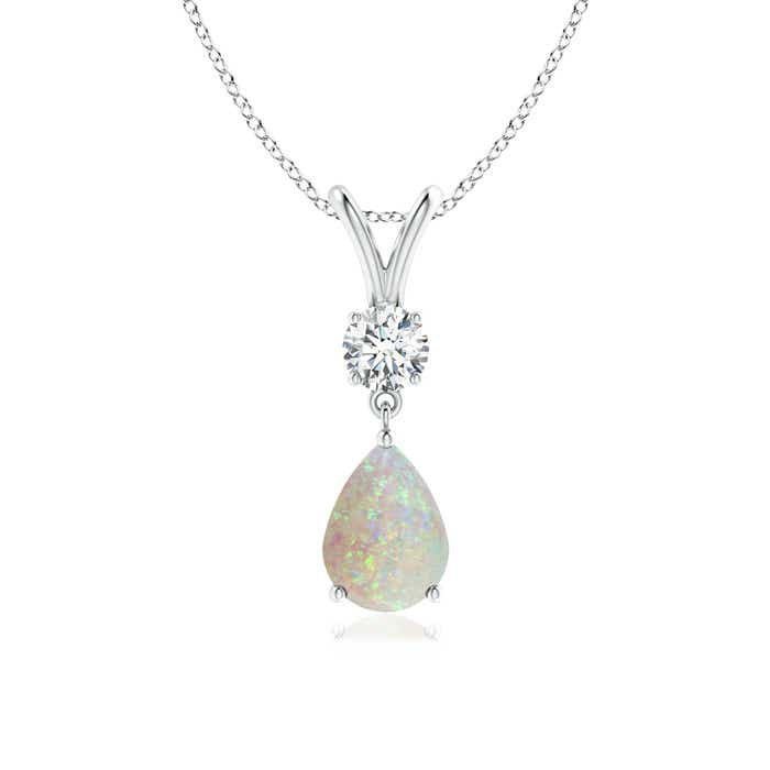 Angara Pear Opal Diamond Pendant in 14k White Gold Ap6QE