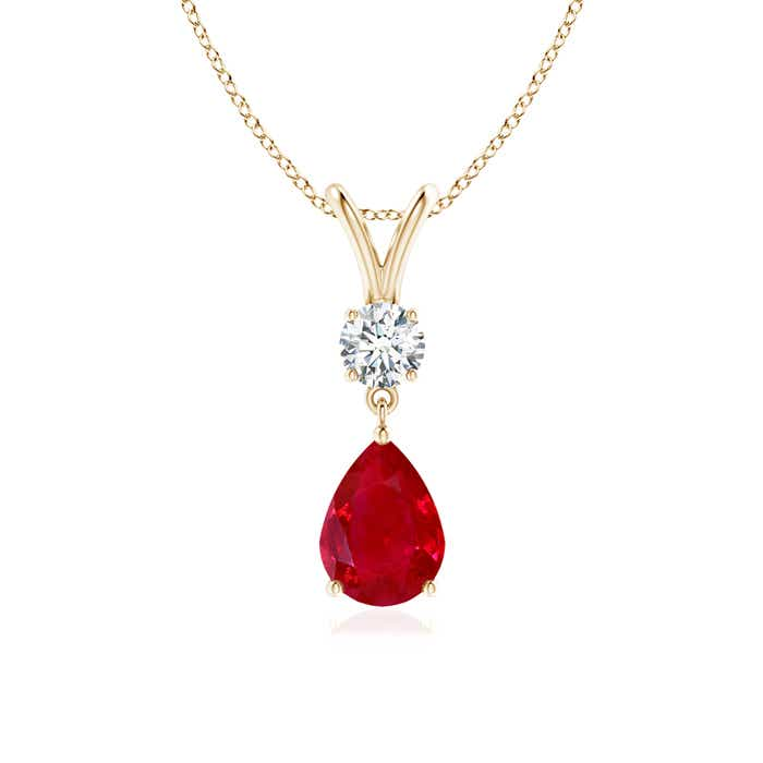Angara Round Ruby and Diamond Halo Dangling Pendant for Women k7j5MMo