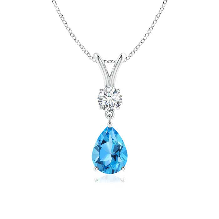 Angara Solitaire Swiss Blue Topaz V-Bale Pendant with Diamond in Yellow Gold NRGpqgCTSN