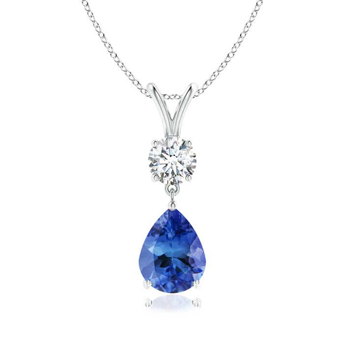 Angara Pear Natural Tanzanite and Diamond V-Bale Pendant in Platinum m1CuAm