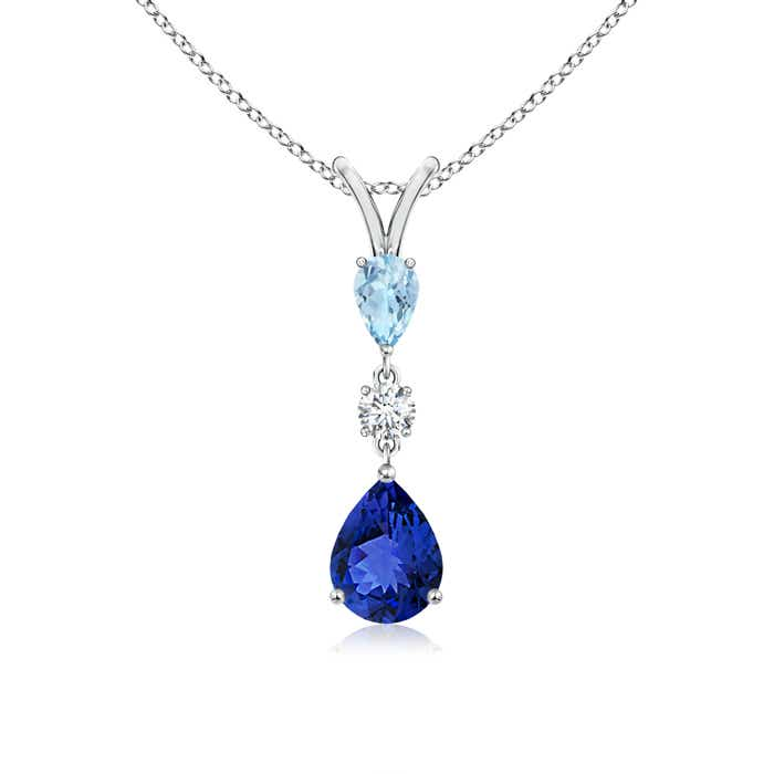 Angara Aquamarine, Tanzanite and Diamond Three Stone Pendant