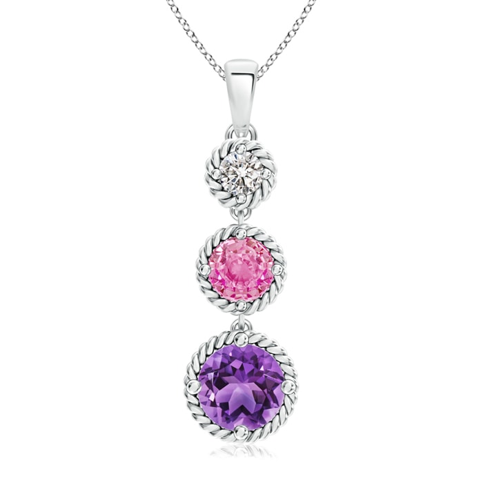 Angara Amethyst, Pink Sapphire Diamond Three Stone Journey Earrings