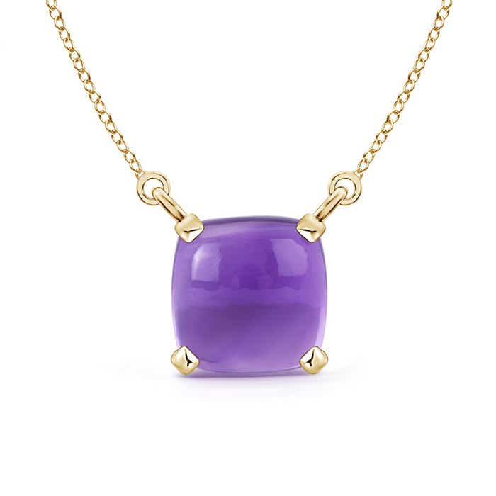 Angara Solitaire Cushion Amethyst Pendant with Diamond Accents QYCZZApG