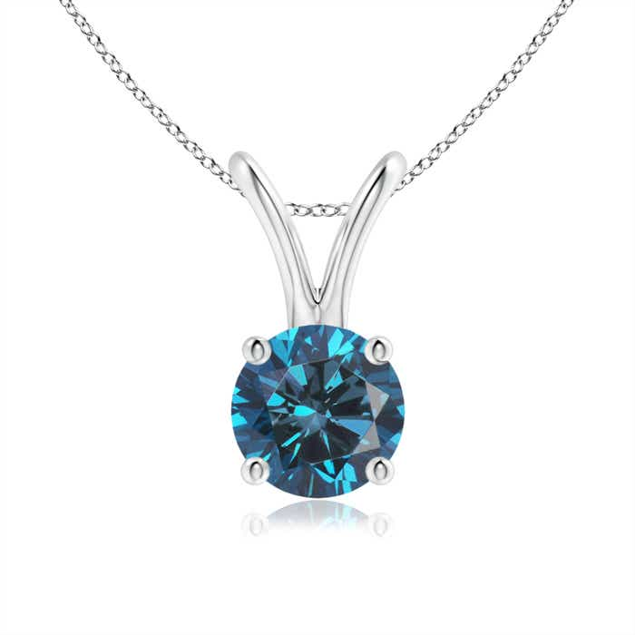 Angara Round Enhanced Blue Diamond Solitaire Pendant PTXLqId