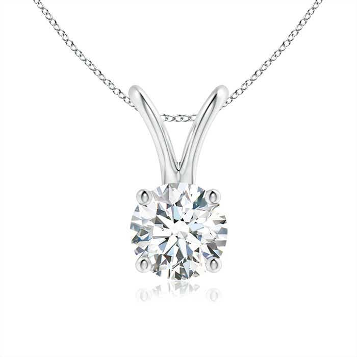 Round diamond solitaire v bale pendant angara 18 inches 14k white gold chain comes free with pendant mozeypictures Gallery