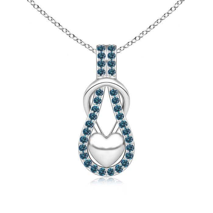 Angara Enhanced Blue Diamond Infinity Knot Pendant with Puffed Heart 8GkiHk
