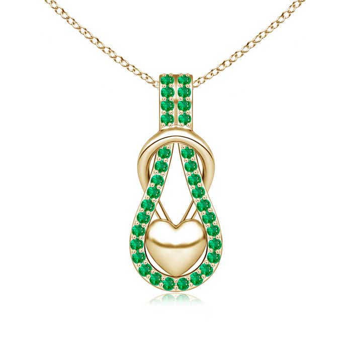 Angara Celtic Knot Emerald Dangling Pendant Necklace in Yellow Gold CrSPvhR