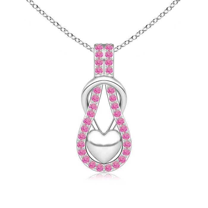 Angara Pink Sapphire Infinity Heart Pendant with Diamonds YosQrZVoAP