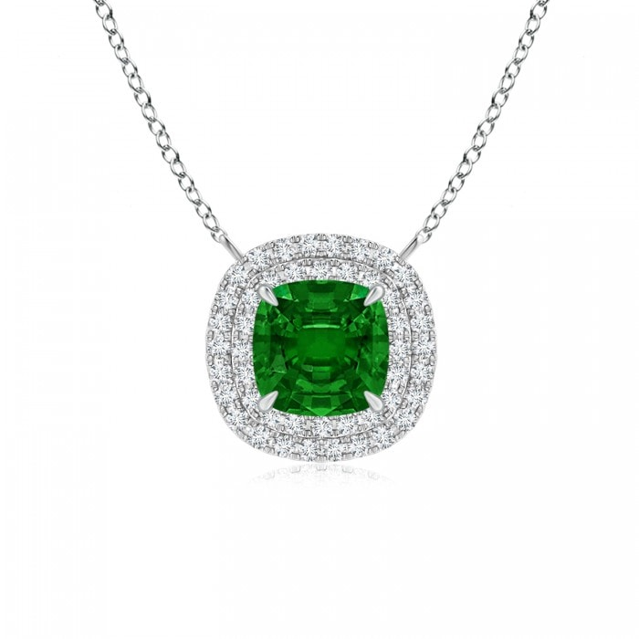 Angara Emerald Necklace - Claw-Set GIA Certified Emerald Pendant with Diamond Halo L3dLvOD82q