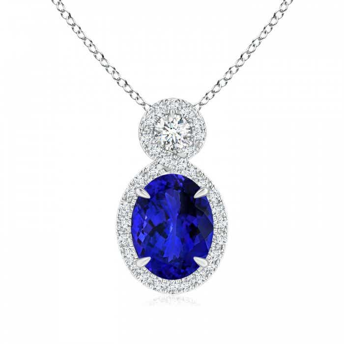 Angara Oval Tanzanite Pendant in Rose Gold B23XS
