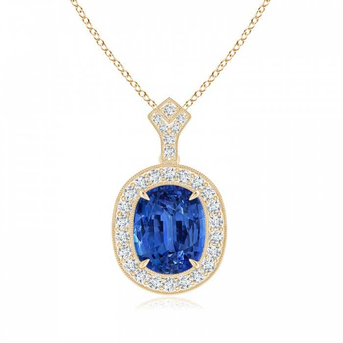 Angara Blue Sapphire Pendant - GIA Certified Cushion Sapphire Infinity Drop Pendant fBdYhK8gS