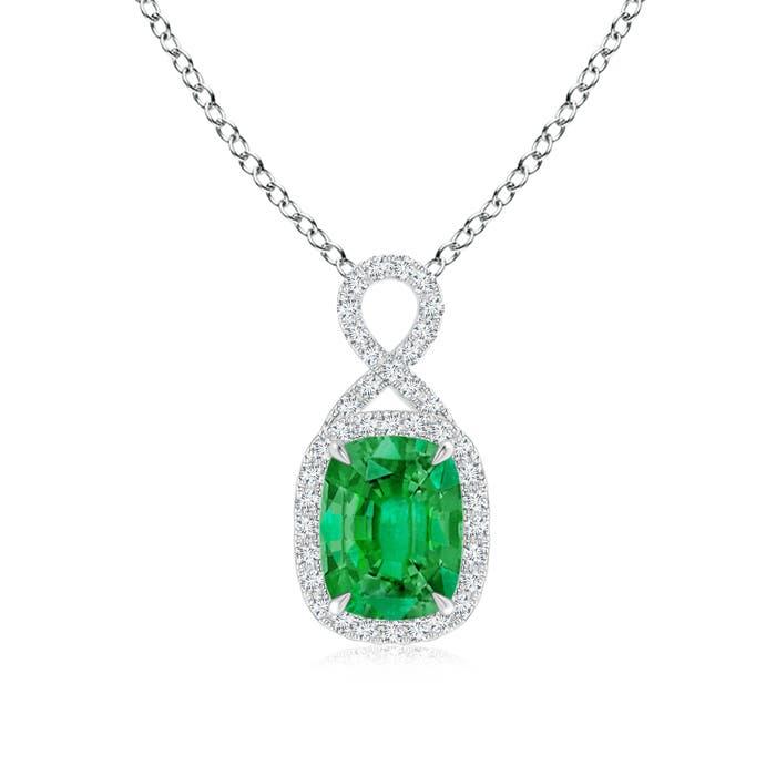 Angara Rectangular Cushion Emerald Infinity Pendant lc1uVMxPwU