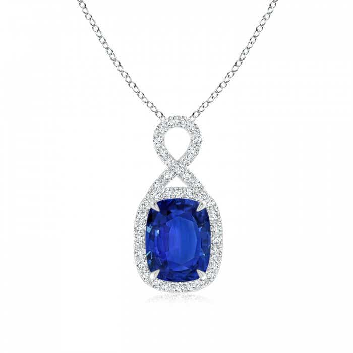 Angara GIA Certified Cushion Blue Sapphire V-Bale Pendant OF4s9G