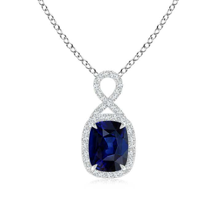 Angara Claw-Set Sapphire Infinity Pendant with Diamonds 4IeHX
