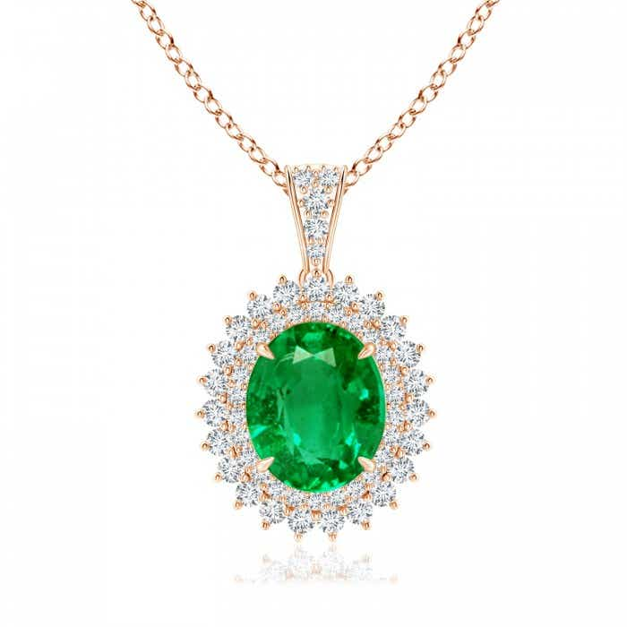 Angara Round GIA Certified Emerald Flower Pendant with Diamond Halo IUsvn