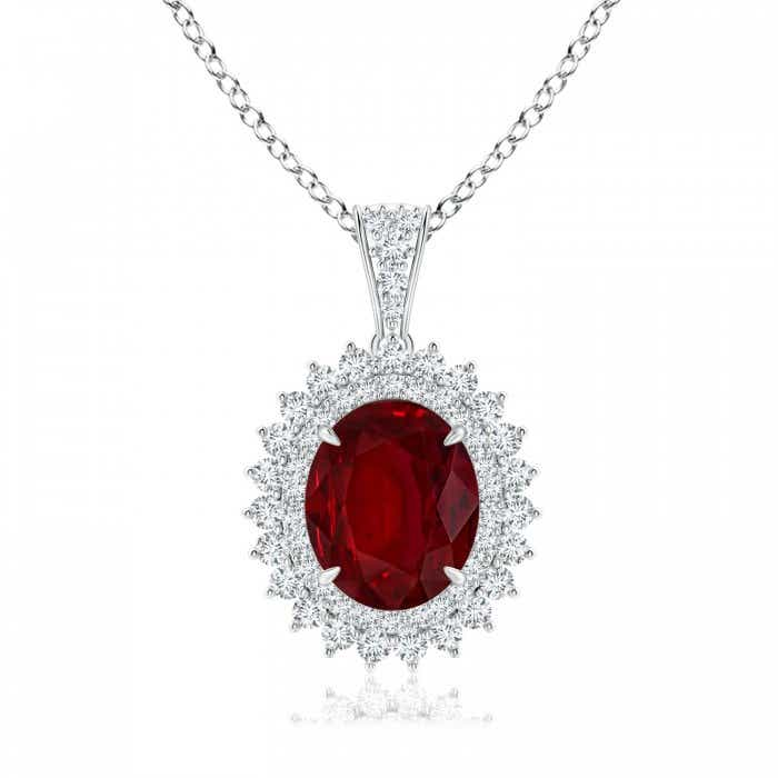 Angara Ruby Pendant - Oval Ruby and Diamond Double Halo Pendant (GIA Certified Ruby) wk1ySQc