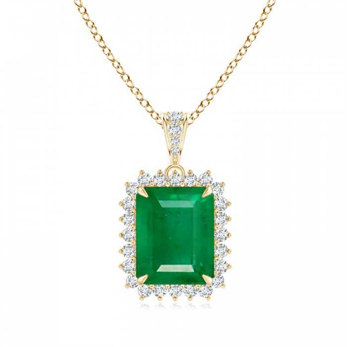 Angara Emerald-Cut Emerald Dangling Pendant in Yellow Gold oY8w0u3BV