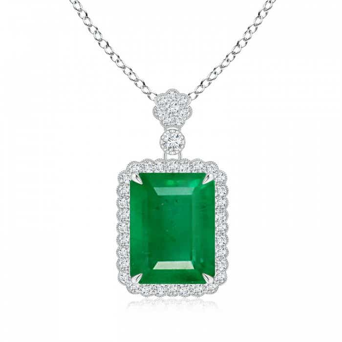 Angara Emerald Pendant - GIA Certified Octagonal Emerald Pendant with Floral Bale 4NeKnLLJ7