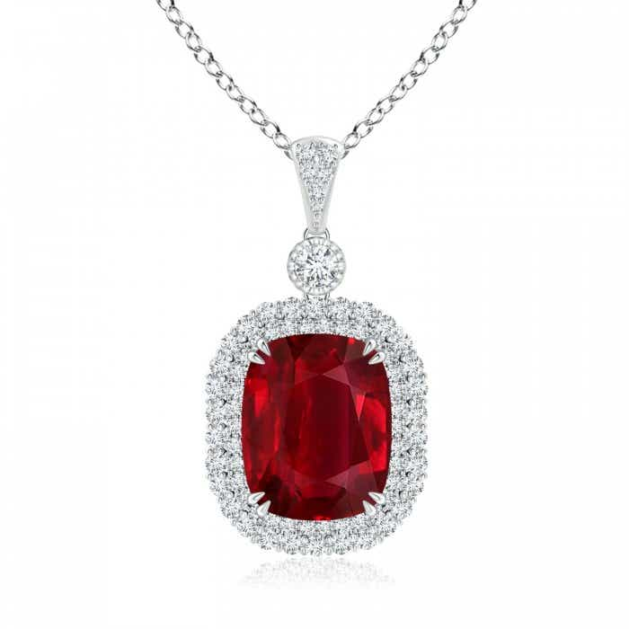 Angara GIA Certified Cushion Sapphire Double Halo Pendant