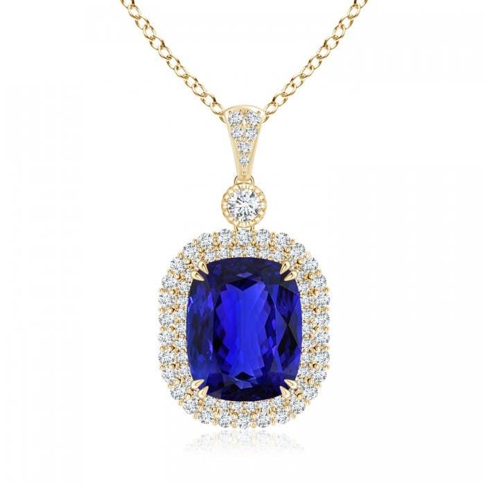 Angara Tanzanite Halo Necklace in 14K Rose Gold - GIA Certified Tanzanite Pendant 72TCyKN