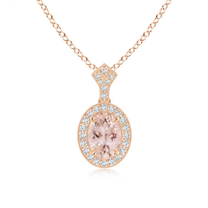 Angara Oval Morganite Necklace with Diamond Halo in Platinum pQVuEG