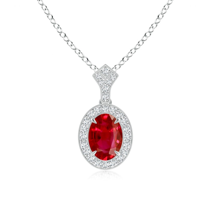 Angara Cushion Ruby Pendant with Diamond Halo r6t8va3