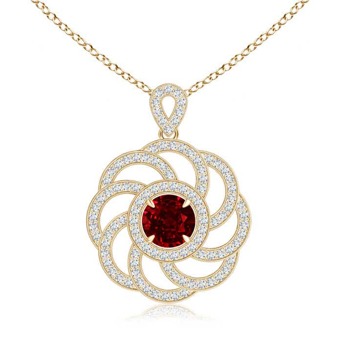 Angara Diamond Halo Claw Ruby Pendant With Beaded Scrollwork Yellow Gold OyLWCbM
