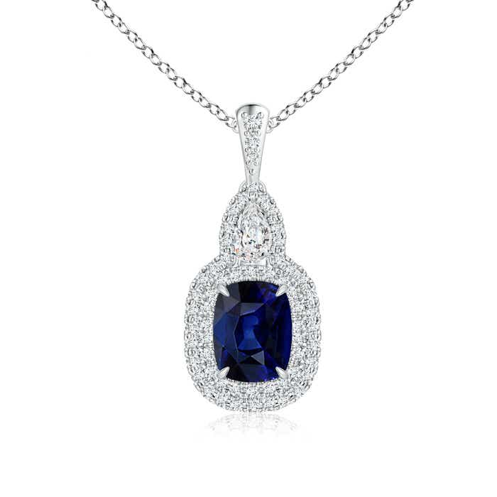 Angara Diamond Halo and Sapphire Pendant in White Gold wHeTwM