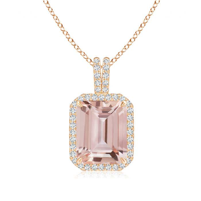 Angara Emerald-Cut Morganite Pendant in White Gold sE3Gl8
