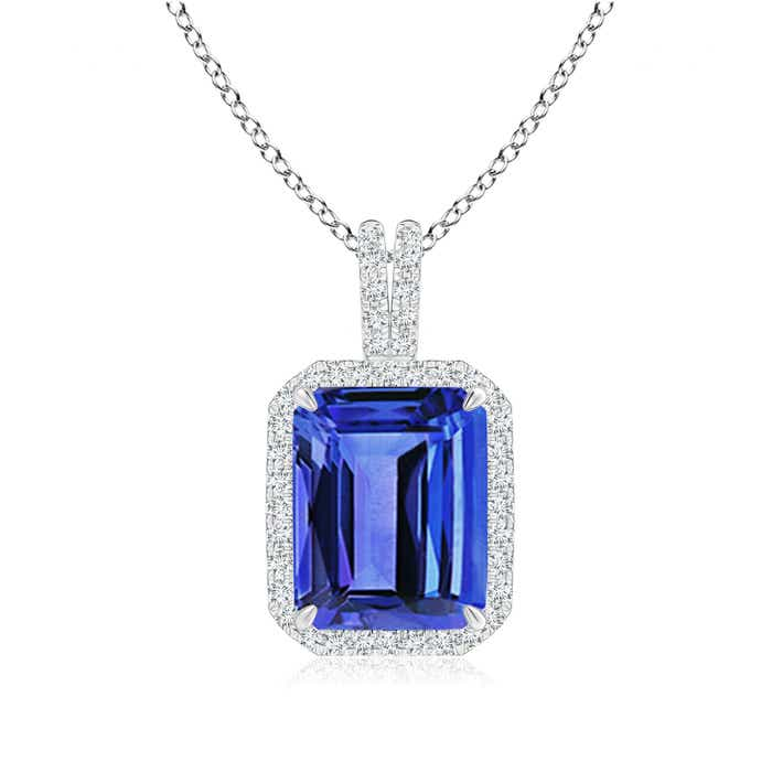 Angara Emerald-Cut Emerald Diamond Halo Pendant in White Gold NQD2JmqH
