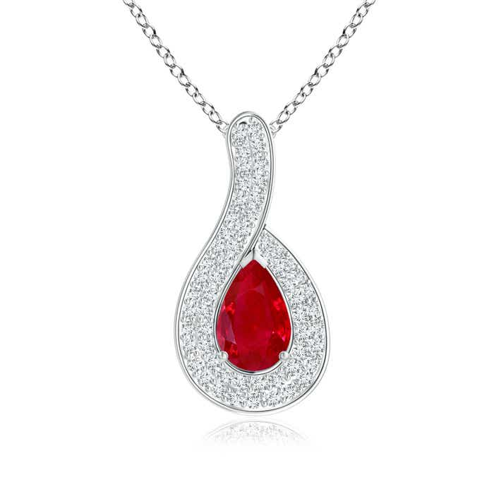 Angara Pear Shaped Ruby Pendant Necklace in 14k Rose Gold