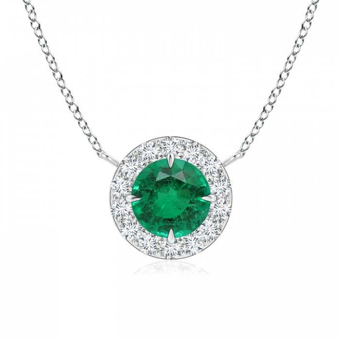 Angara Emerald Necklace - Claw-Set Round GIA Certified Emerald with Diamond Halo MbWOE