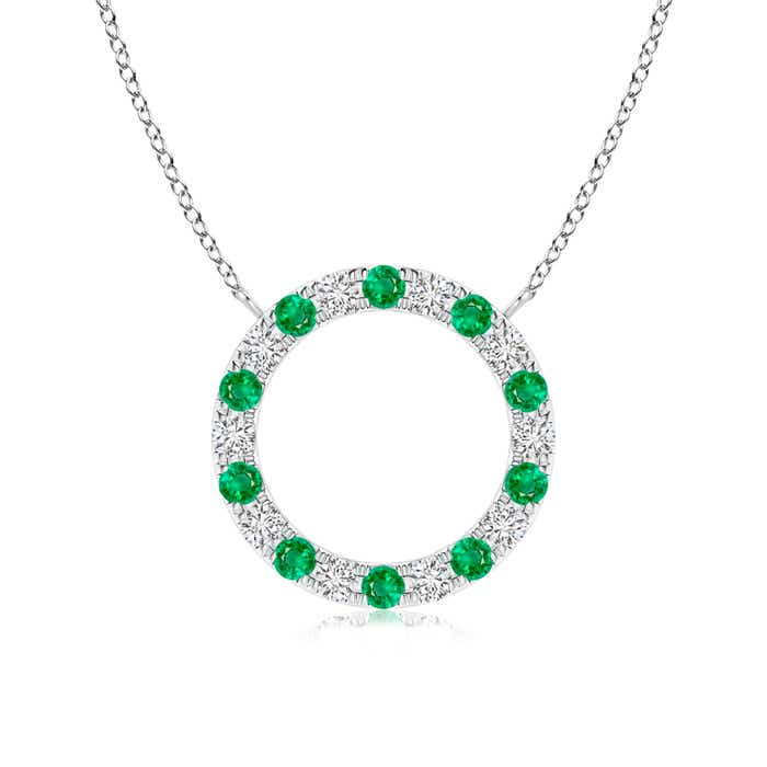 Angara Oval Emerald Wishbone Pendant with Diamond Accents LXbbkhZk