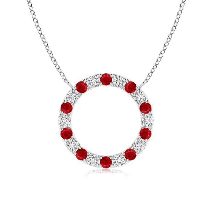 Angara Round Ruby and Diamond Circle Journey Necklace in Platinum lK1R0