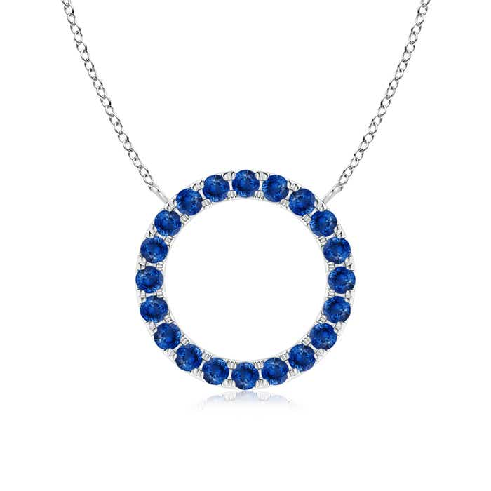 Angara Sapphire and Diamond Open Circle Eternity Pendant