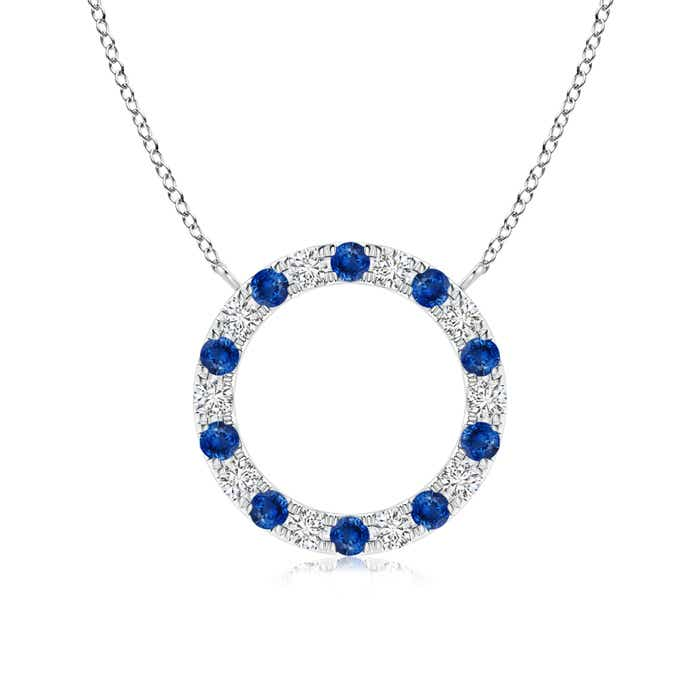 Angara Round Blue Sapphire Open Circle Pendant in Rose Gold WirQh