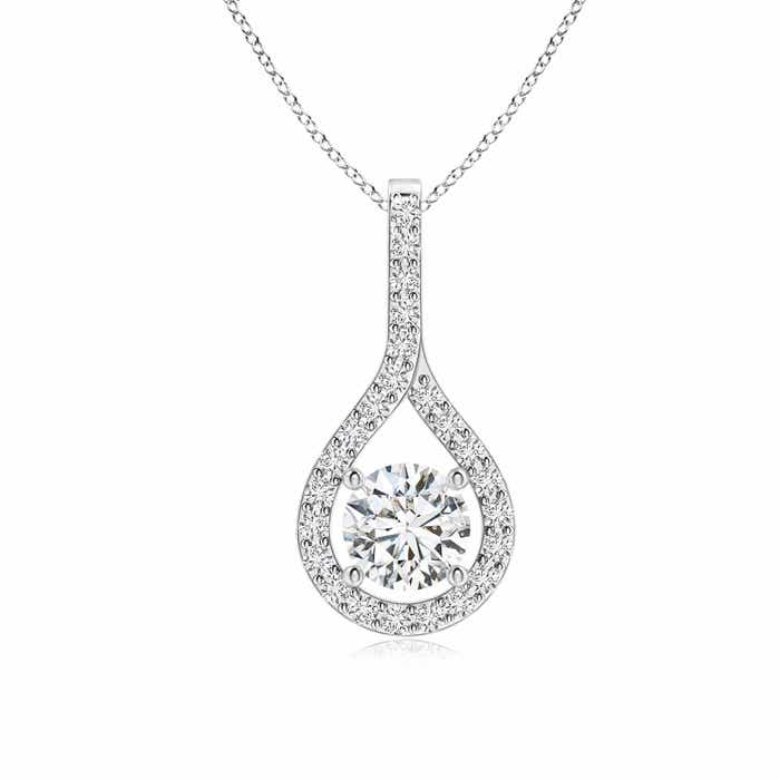 Angara Floating Diamond Drop Pendant with Accents 8bReXt