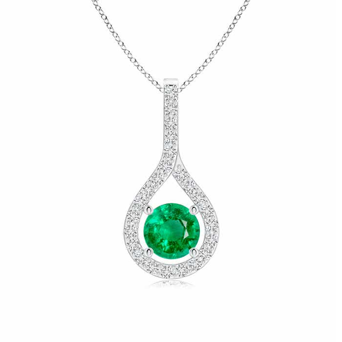 Angara Diamond Halo Emerald Drop Necklace Yellow Gold gWWML7BW