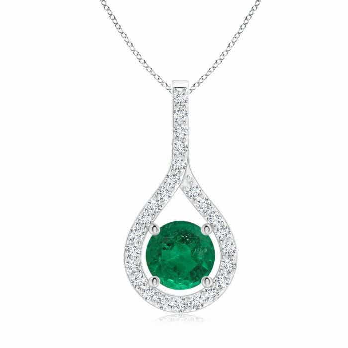 Angara GIA Certified Pear-Shaped Emerald V-Bale Pendant 0mTfnf5Sl