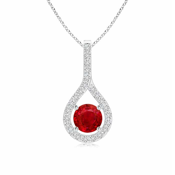 Angara Diamond Halo Ruby Drop Pendant in Platinum
