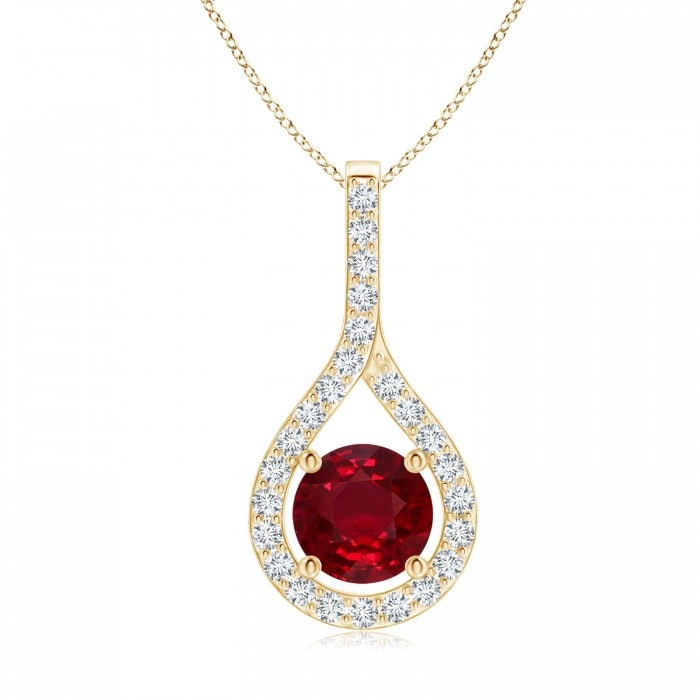 Angara Ruby Pendant - GIA Certified Ruby Knotted Heart Pendant with Diamond nZcgD
