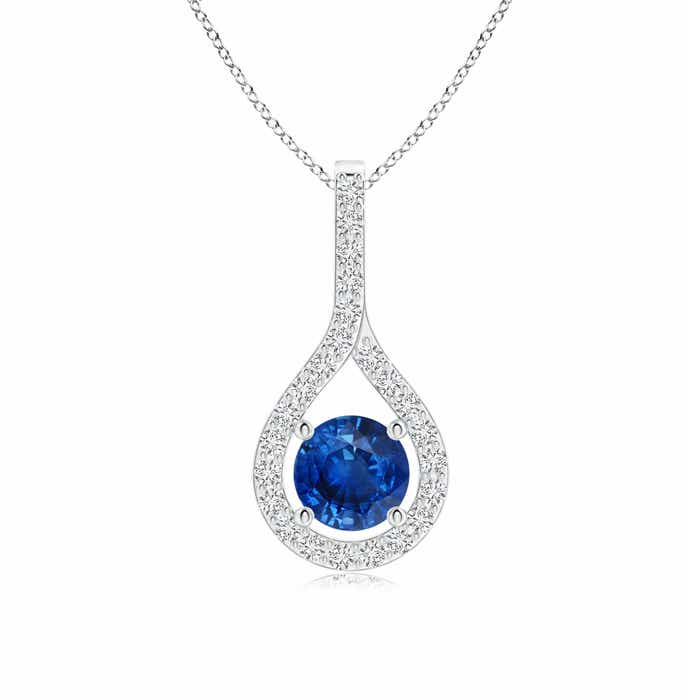 Angara Sapphire and Diamond Drop Pendant in White Gold