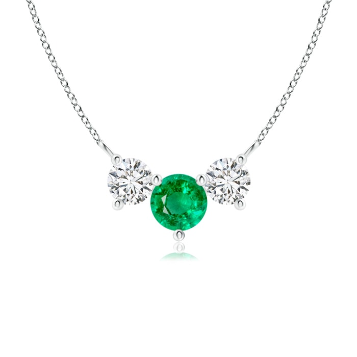 Angara Classic Trio Emerald Necklace in Platinum uxm7zZ7YhF