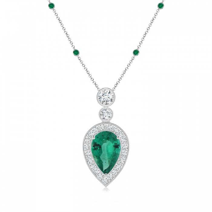 Angara Three Round Emerald Necklace in Yellow Gold