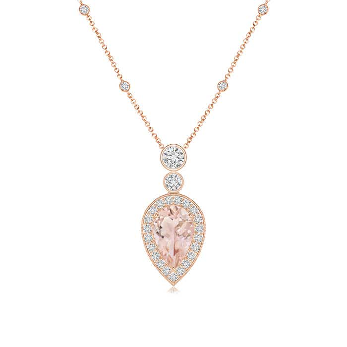 kay gold mv kaystore to hover morganite en zm necklace rose diamond accents zoom