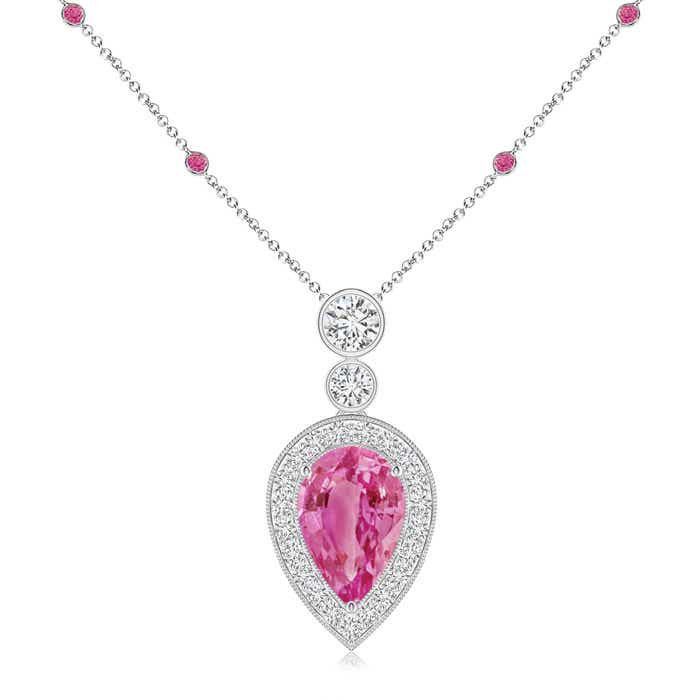 Angara Inverted Pear Pink Sapphire Necklace with Diamonds P5zodB