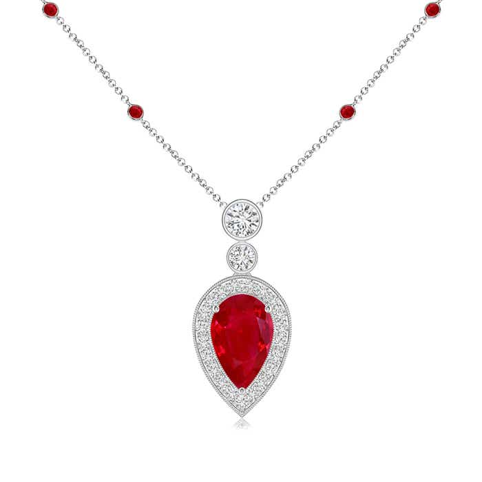 Angara Vintage Pear Natural Ruby and Diamond Halo Drop Pendant