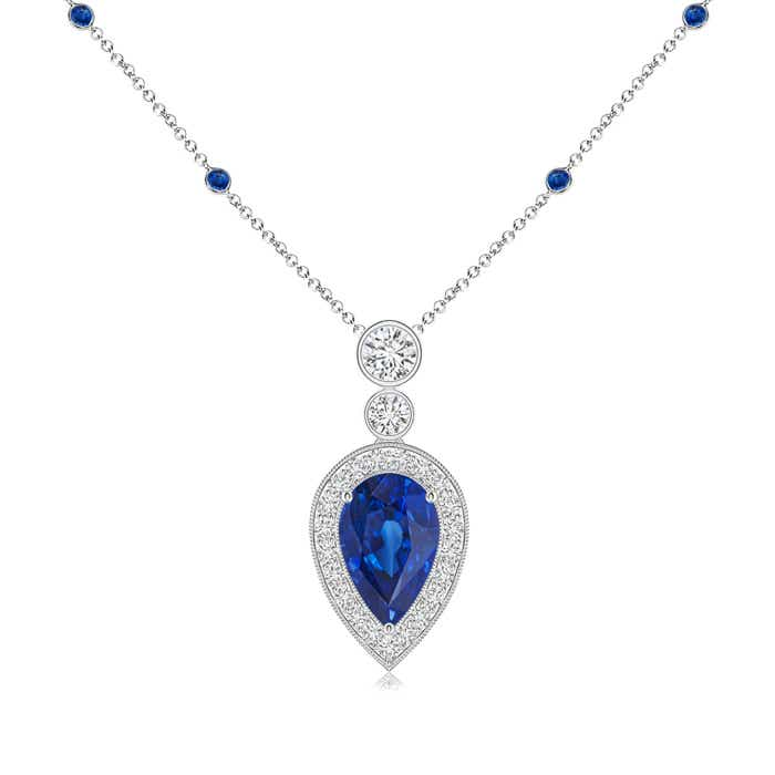 Angara Classic Sapphire and Diamond Necklace bVtL0d