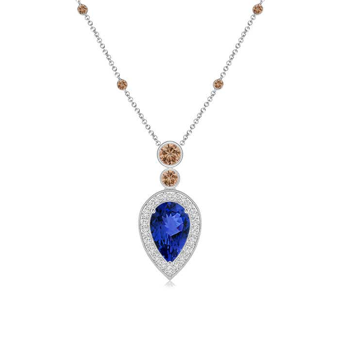 Angara Inverted Pear Sapphire Necklace with Diamonds nKIua3On9l